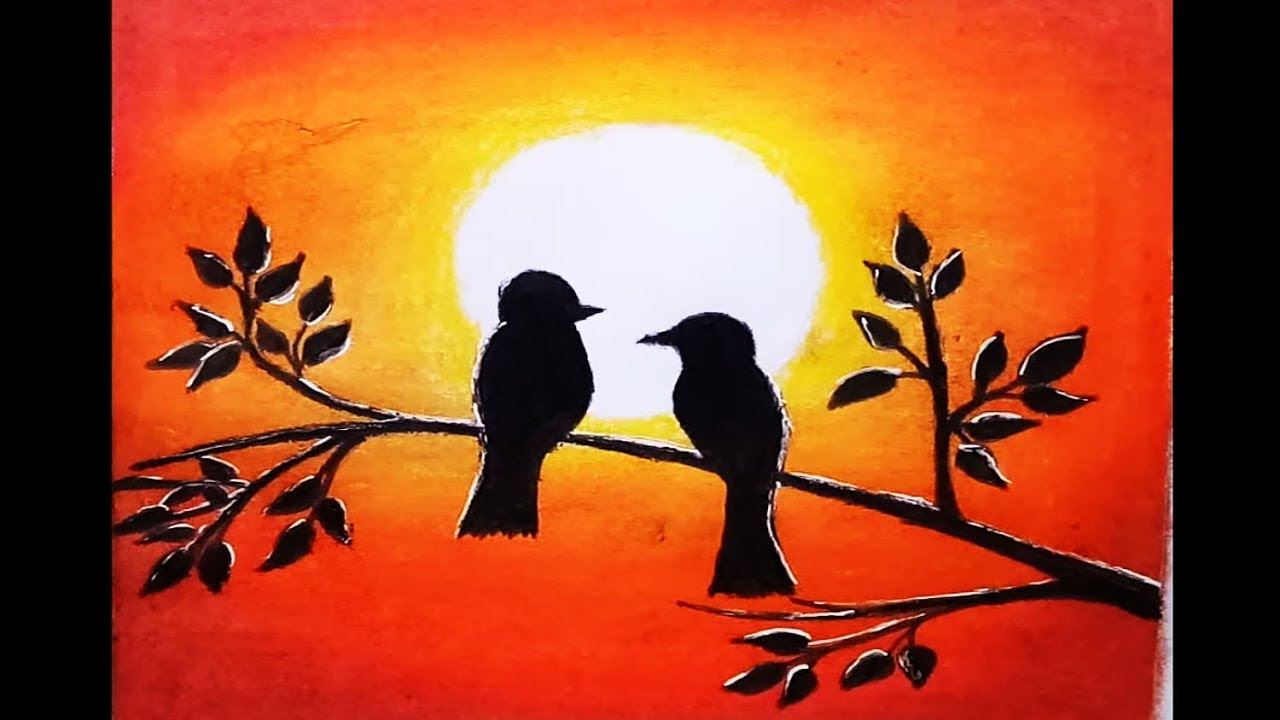 How to draw scenery of Sunset with oil pastel.Step by step ...