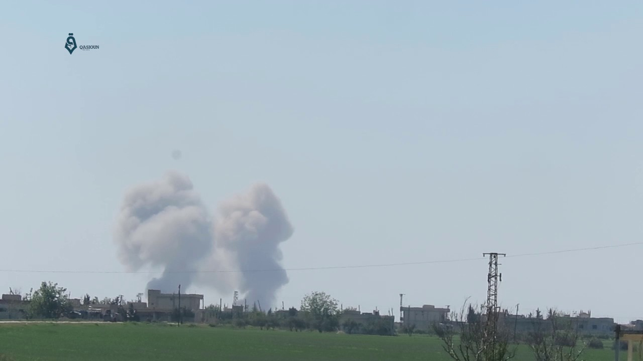 This morning, govt. intensified their bombardment of the city of Latamna in the northern suburbs of Hama. The helicopters targeted the city with explosive barrels and parachute bombs