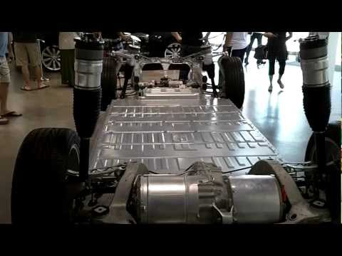 Tesla S battery pack, chassis and drivetrain - closeup - lithium ion battery pack and motor