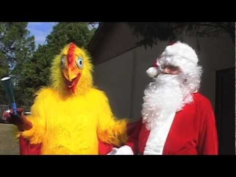 Santa and the Chicken visit Loretto Elementary School
