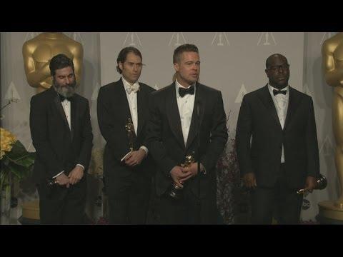 Oscars 2014 Winners Room: Brad Pitt jokes about picking up dog poo before the Oscars