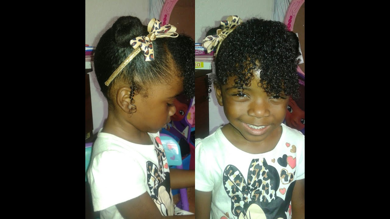 two mini buns with curly bang- natural hair style for kids - youtube