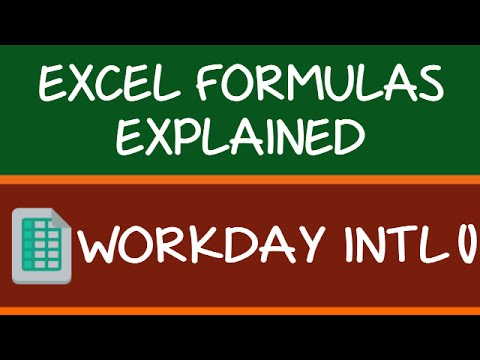 WORKDAY INTL Formula in Excel