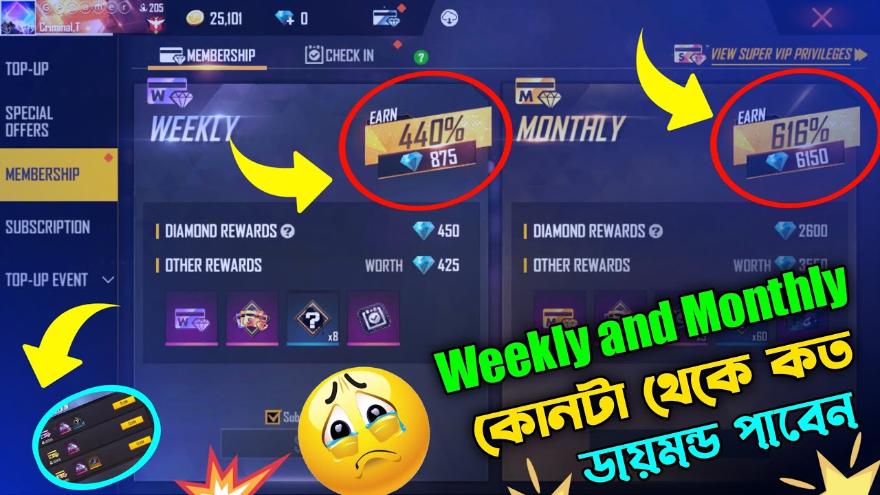 Download Free Fire weekly and monthly membership    Super Vip weekly Monthly Offer    weekly   monthly   2021