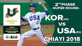 🔴ᴴᴰ Baseball – Second phase – KOR(A2) vs  - USA(B2)FISU 2018 World University Championship