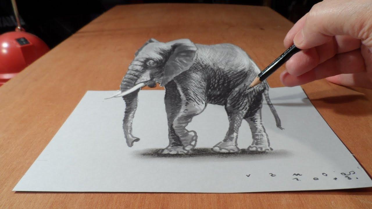 Trick Art Draw 3d Elephant Time Lapse
