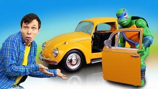 Черепашки Ниндзя в видео онлайн – Леонардо и Фёдор чинят машинки! – Игры для мальчиков.