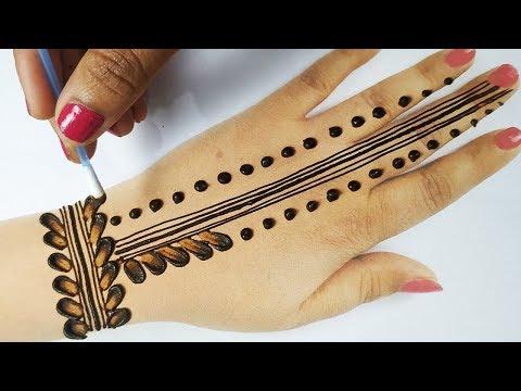 बहुत आसान मेहँदी - नवरात्री स्पेशल मेहँदी इयरबड और गोल टिक्की से बनाये - New Easy Cotton bud Mehndi