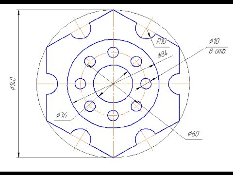 Как разделить окружность в компасе на равные части