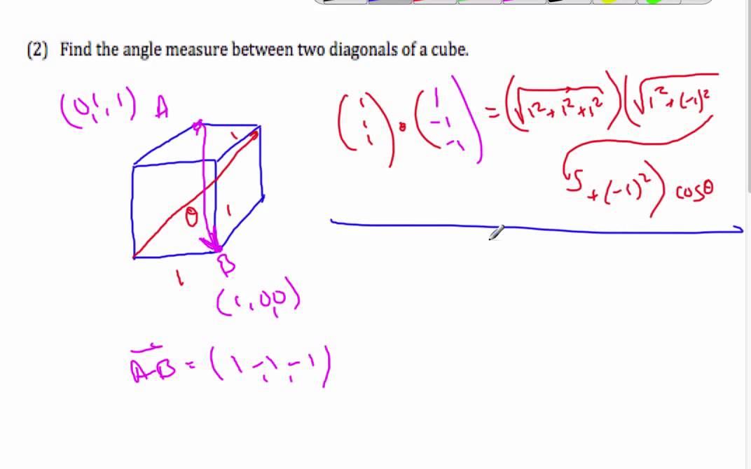 IB Vectors - Using vectors to find the angle between two diagonals