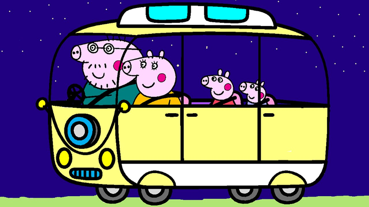 Peppa Pig Coloring Pages Coloring Book Peppa Pig Campervan Coloring Youtube
