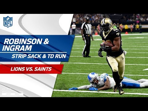 Robinson Rips the Ball from Stafford Setting Up Ingram's TD Run! | Lions vs. Saints | NFL Wk 6