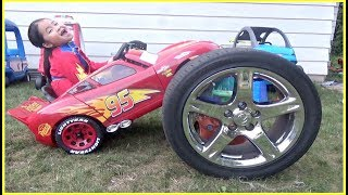 Bad Baby Lightning McQueen Power Wheel Car WHEEL FELL OFF!  Changing WHEEL