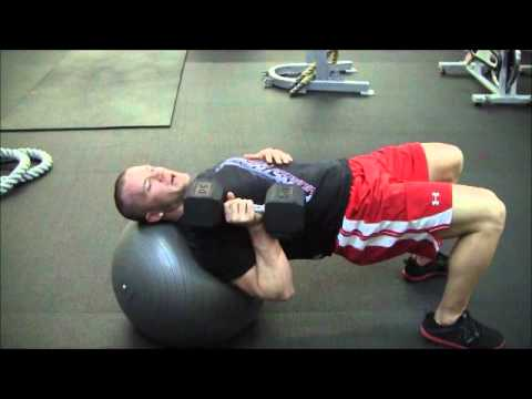 Stability Ball One Arm Dumbbell Bench Press - Functional Muscle Fitness Exercise of the Week