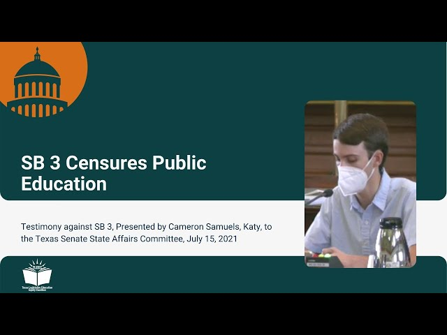 SB 3 Censures Public Education – Student Testimony