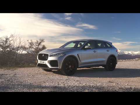 The Jaguar F-PACE SVR 550PS AWD Indus Silver Design in Southern France