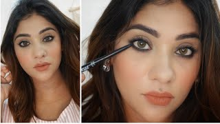 how To : Easy Everyday Smudged kohl Eyes    Beginners makeup under 150 Rs. using blue heavens