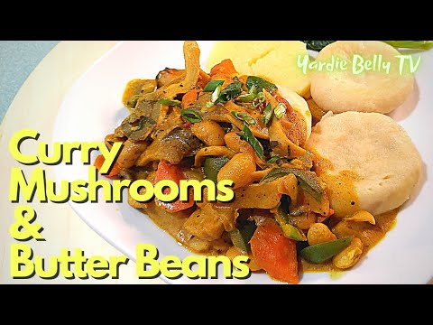 CURRY MUSHROOMS AND BUTTER BEANS RECIPE | VEGAN TRIPE AND BEANS | DINNER LIVE