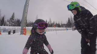 3 Year Old Anna-Zlata Snowboarding For First Time.