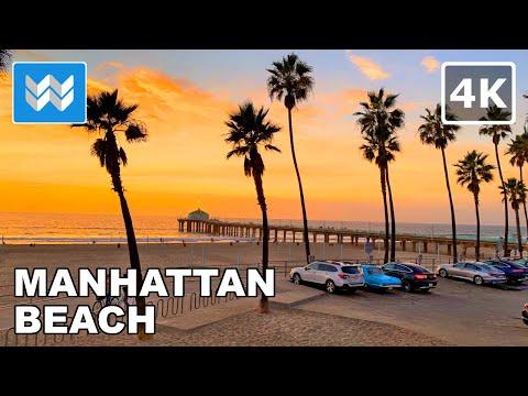 [4K] Sunset at Manhattan Beach Pier in South Bay California USA - Walking Tour 🎧 Binaural Sound