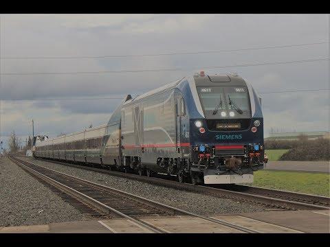 SIEMENS Charger Unit Test Train, UP C40-8W - Railfanning Eugene, OR 2-18-17!