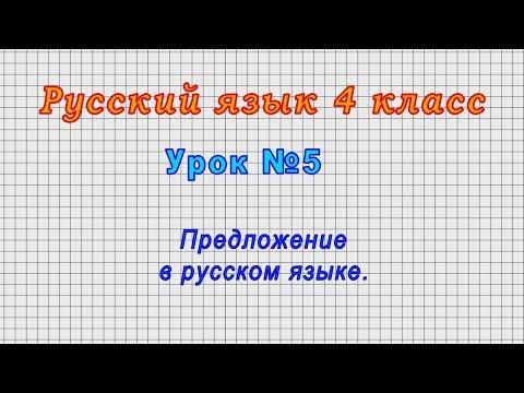 Русский язык 4 класс (Урок№5 - Предложение в русском языке.)