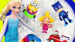 Learn Colors with Pj Masks and Barbie - Bucket Of Bubbles For Kids and Children - Paw Patrol