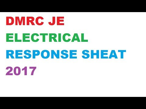 DMRC/NMRC JE ELECTRICAL EXAM QUESTION PAPER WITH ANSWER