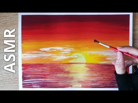 АСМР Живопись для расслабления 💓 Красный закат над морем 😍 Пишу картину + близкий шёпот
