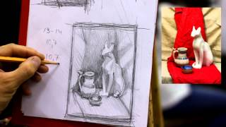 Простой натюрморт.Эскизы - Обучение живописи. Масло. Введение, 19 серия