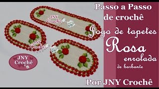 Jogo de Tapetes de crochê Rosa enrolada por JNY Crochê