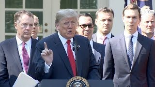 President Trump Holds Rose Garden Press Conference On NEW U.S. Mexico Canada Trade Deal