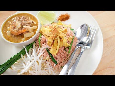 Pink Noodles w/ Coconut Gravy (mee gati) หมี่กะทิ - Hot Thai Kitchen!