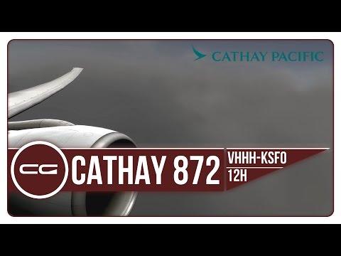 P3D V3.4   VHHH (Hong Kong) - KSFO (San Francisco)   CPA872 HEAVY TURBULENCE!   PMDG 777-300ER
