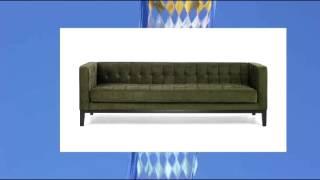 Armen Living 1010 Roxbury Sofa Tufted Green Fabric