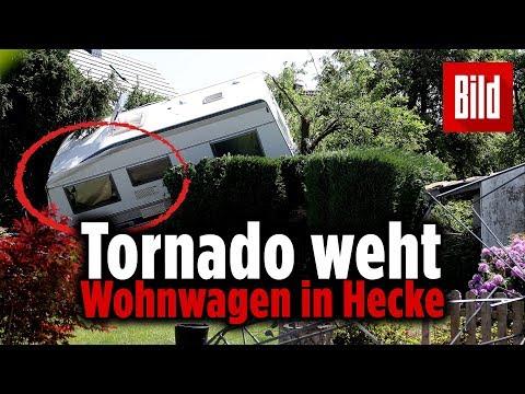 Tornado in NRW: Wohnwagen wurde in Gartenhecke geweht – Aufräumen in Viersen
