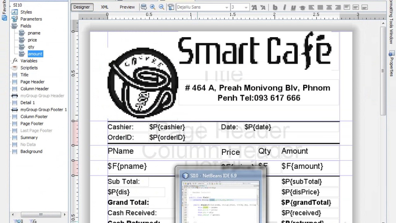 how to create report for print invoice in java netbeans youtube
