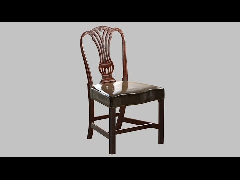 English Georgian Carved Mahogany Leather Antique Side Chair