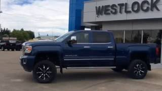 2016 Stone Blue Metallic GMC Sierra 2500HD Denali Customized For Sale In Westlock Stock #16T55