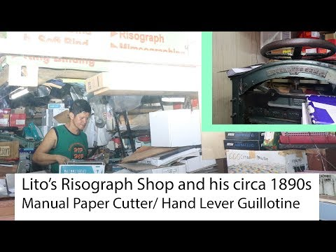 Risograph Shop + 19th Century Peerless Gem Paper Cutter- cool workspace in Metro Manila, Philippines