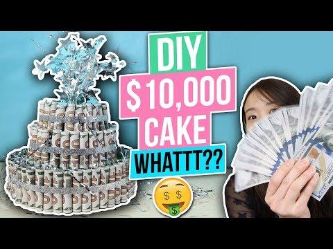 DIY $10,000 Money Cake - How to Fold Money Into a Cake! Dollar Origami Graduation Money Gift Idea!