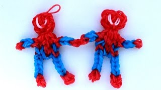 Человек паук из резинок  RAINBOW LOOM. Плетем человека паука  - SPIDERMAN from Rainbow Loom bands.