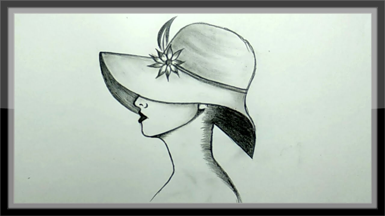 DIY Pencil Drawing A Girl In Hat picture Easy For ...
