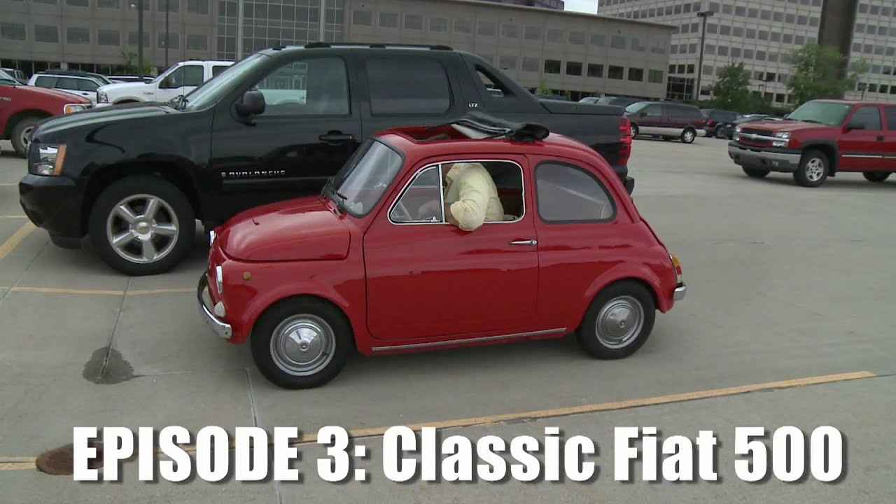 Giant Drives Classic Fiat 500 - CAR and DRIVER - YouTube