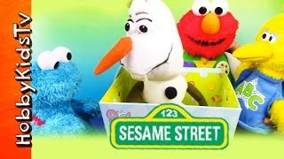 Box Battle! Elmo Cookie Monster Big Bird Olaf Learn to Share  Sesame Street Frozen by HobbyKidsTV