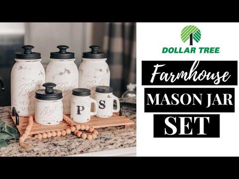 DIY Mason jar High-End Dollar Tree Farmhouse Kitchen Decor DIY | Mason Jar Set