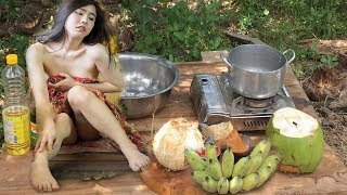 Yummy! Khmer Beautiful Girl Cook Banana Dessert with Coconut Recipes-Traditional food in Cambodia