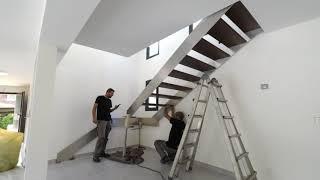 Montage Escalier Inox Design avec Garde-Corps Verre