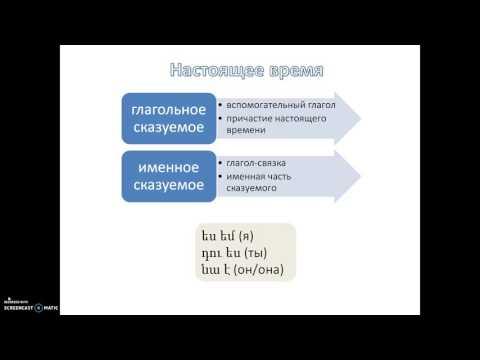 Армянский язык онлайн: спряжение: единственное число