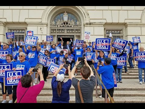 US Mail NOT For Sale Postal Workers Rally - Downtown San Antonio Texas